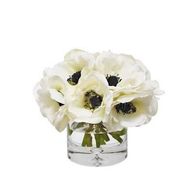 Faux Anemone Arrangement in Glass Vase - Williams Sonoma