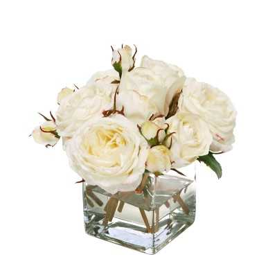 Faux White Roses Arrangement in Glass Vase - Williams Sonoma