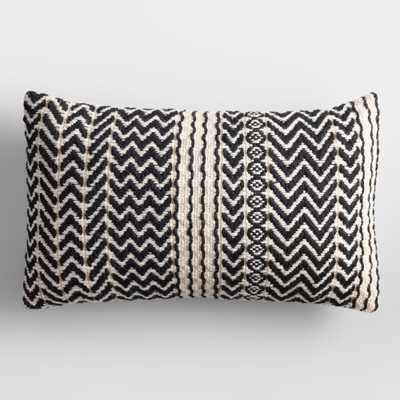 Black and Ivory Zigzag Woven Indoor Outdoor Patio Lumbar Pillow - Polyester by World Market - World Market/Cost Plus