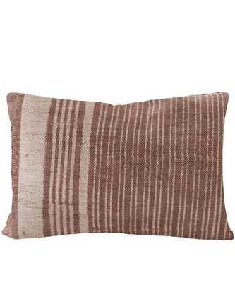Faded Line Lumbar Pillow, Rust - Includes Down Insert - High Street Market