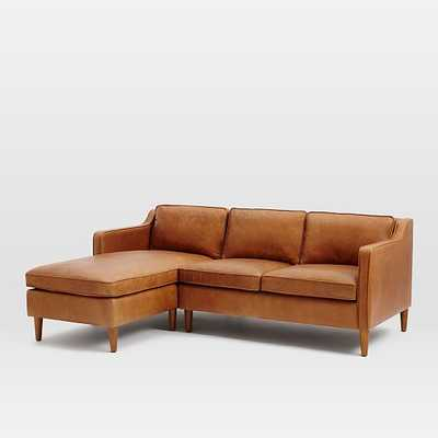Hamilton 2-Piece Leather Chaise Sectional- Right Arm Loveseat, Left Arm Chaise - West Elm
