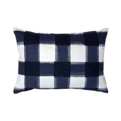 Navy Burnside Buffalo Check Pillow - Caitlin Wilson