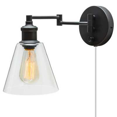 Globe Electric LeClair 1-Light Dark Bronze Plug-In or Hardwire Industrial Wall Sconce - Home Depot