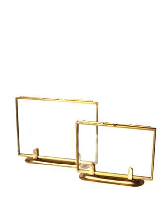 "Double Sided Glass Picture Frame - Brass - 5""x7"" - High Street Market"