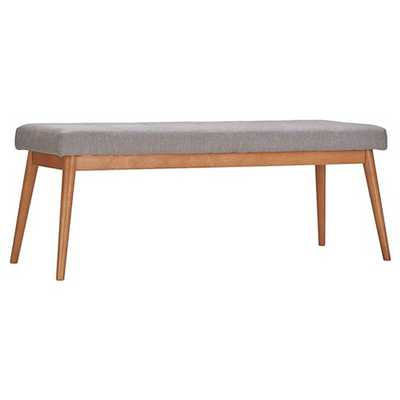 Sullivan Oak Mid Century Linen Bench - Inspire Q - Target