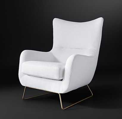 LIAM FABRIC CHAIR - Belgian Linen White Brass - RH Modern
