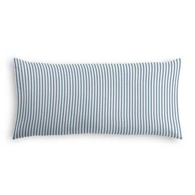 "Lumbar Pillow - Little White Line - Blueberry-12"" x 24""- Down insert - Loom Decor"