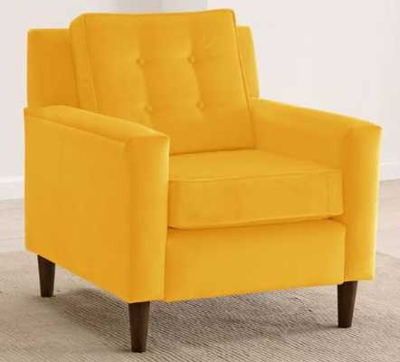 Skyline Furniture Velvet-Upholstered, Tufted Accent Chair - Velvet Canary - Overstock