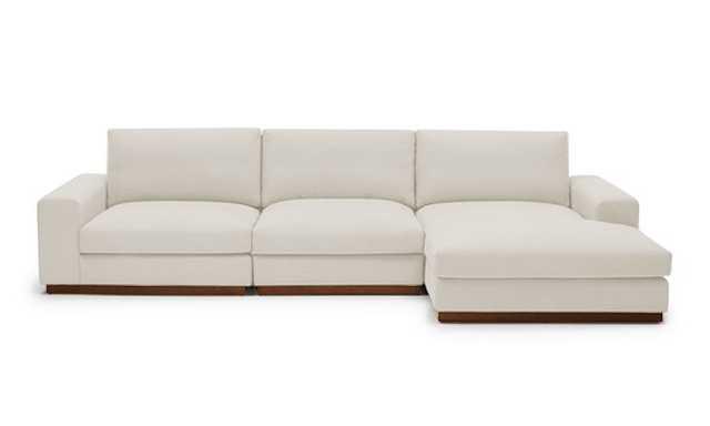 White Holt Mid Century Modern Modular Sectional - Tussah Snow - Medium - Right - Joybird
