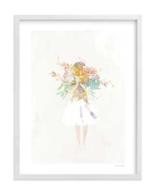 The Flower Girl, White Wood Frame - Minted