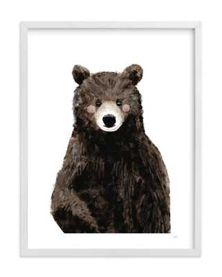 "Baby Animal.Bear - White Wood Frame 18"" x 24"" - Minted"