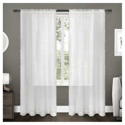 """Sheer Pom Pom Curtain Panels Pair Exclusive Home - White - 54""""  x 108"""" - Target"""