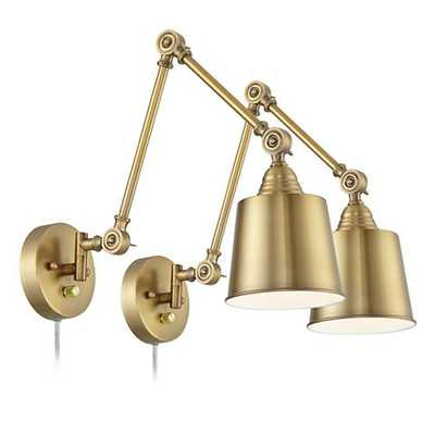 Set of 2 Mendes Antique Brass Down-Light Plug-In Wall Lamps - Style # 23R80 - Lamps Plus