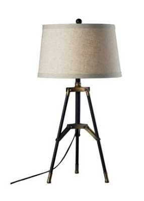 FUNCTIONAL TRIPOD TABLE LAMP IN RESTORATION BLACK AND AGED GOLD - Rosen Studio