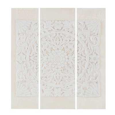 Wooden Mandala 3D Embellished Canvas 3pc Decorative Wall Art Set - Target