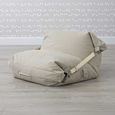 Adjustable Grey Bean Bag Chair - Crate and Barrel