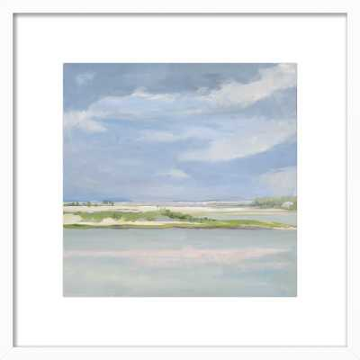 "August Water - 16"" x 16"", White Wood Frame with mat - Artfully Walls"