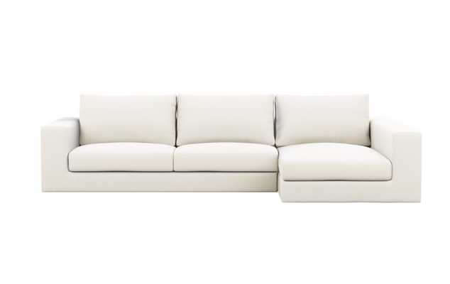 Walters Chaise Sectional in Ivory Fabric - Interior Define