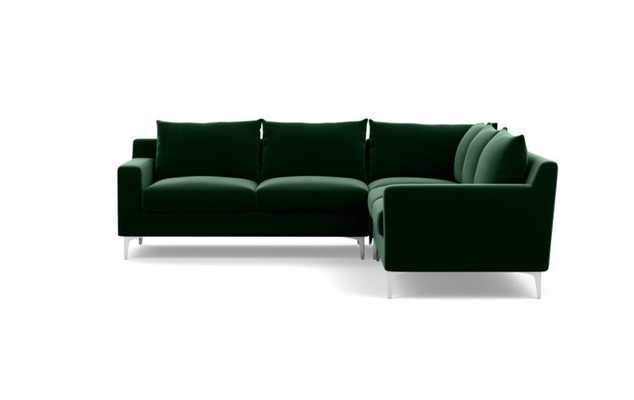 Sloan Sectionals with Corner Sectionals in Emerald Fabric with natural oak legs - Interior Define