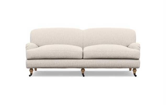 Rose by The Everygirl Sofa in Wheat Cross Weave with White Oak with Antiqued Caster legs - Interior Define