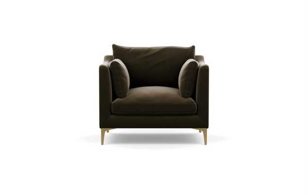 Caitlin by The Everygirl Chairs in Quartz Fabric with Brass Plated legs - Interior Define