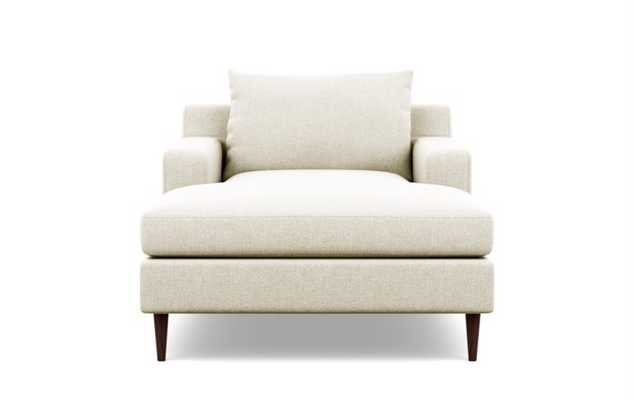 Sloan Chaise Chaises in Vanilla Fabric with facingright facing chaise with Oiled Walnut legs - Interior Define