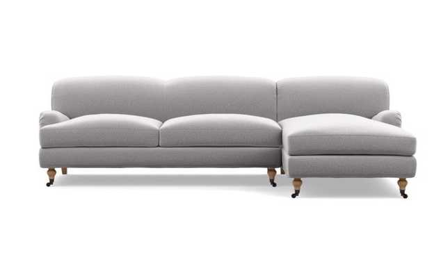 Rose by The Everygirl Chaise Sectional in Ash Fabric with White Oak with Antiqued Caster legs - Interior Define