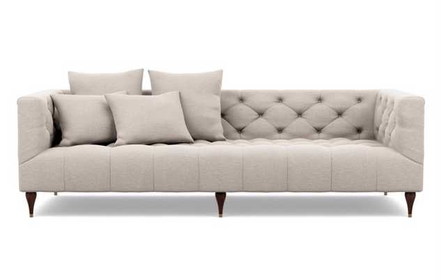 Ms. Chesterfield Sofa in Linen Fabric with Oiled Walnut with Brass Cap legs - Interior Define