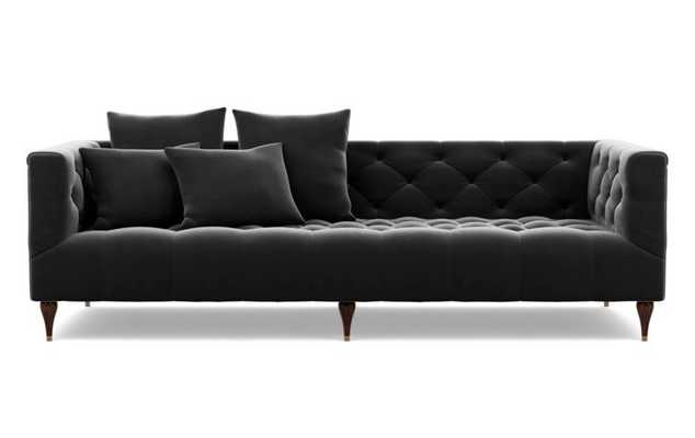 Ms. Chesterfield Sofa in Narwhal Fabric with Oiled Walnut with Brass Cap legs - Interior Define