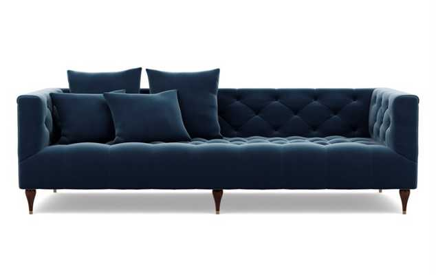 Ms. Chesterfield Sofa in Sapphire Fabric with Oiled Walnut with Brass Cap legs - Interior Define