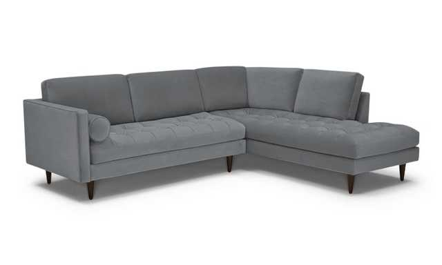 Gray Briar Mid Century Modern Sectional with Bumper - Synergy Pewter - Coffee Bean - Right - Joybird