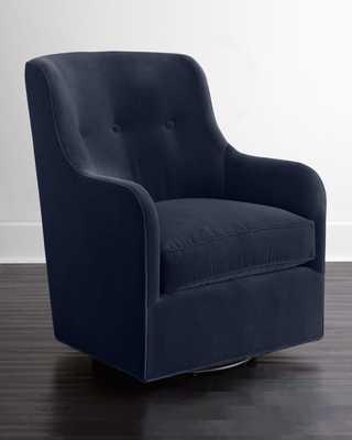 Cali St. Clair Navy Velvet Swivel Chair - Horchow