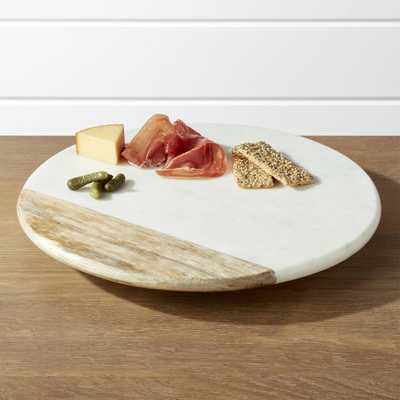 Wood and Marble Lazy Susan - Crate and Barrel