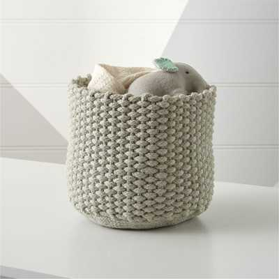 Small Kneatly Knit Khaki Rope Bin - Crate and Barrel