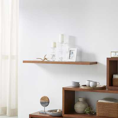 "Aspect Walnut 47.5"" Floating Wall Shelf - Crate and Barrel"
