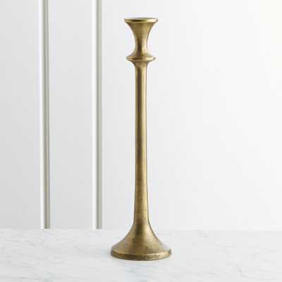 "Emmett Antique Brass Taper Candle Holder 14.5"" - Crate and Barrel"