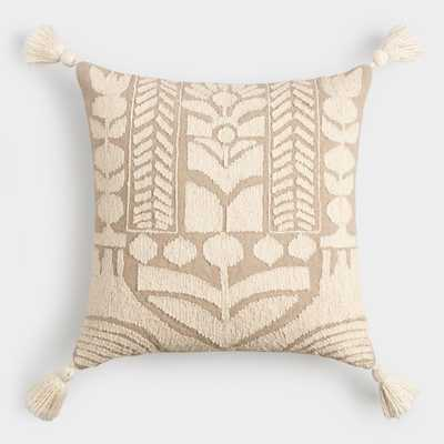 Oatmeal and Ivory Embroidered Garden Throw Pillow by World Market - World Market/Cost Plus
