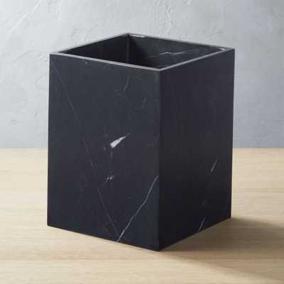 Nexus Black Marble Wastebasket - CB2