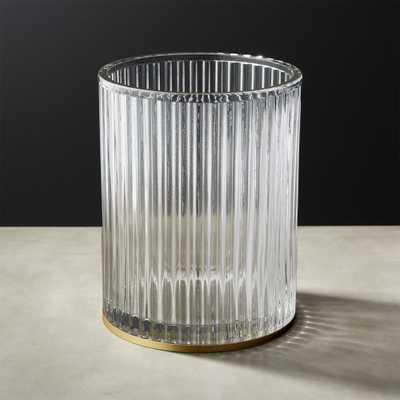 Ribbed Glass Wastebasket - CB2