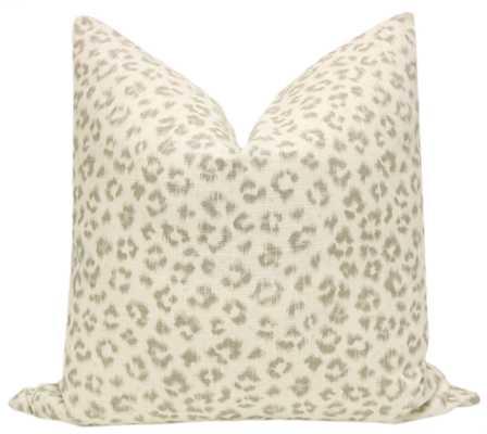"Leopard Linen Print // Grey - 18"" X 18"" - Little Design Company"