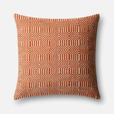 "PILLOWS - ORANGE / IVORY - 22"" X 22"" Cover w/Down - Loma Threads"