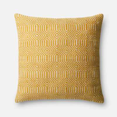 "PILLOWS - YELLOW / IVORY - 22"" X 22"" Cover w/Down - Loma Threads"