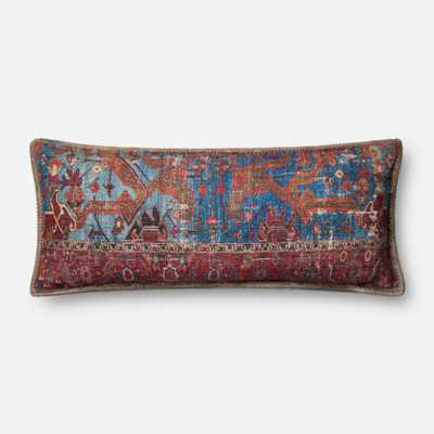 """PILLOWS - BLUE / MULTI - 13"""" X 35"""" Cover w/Poly - Loma Threads"""