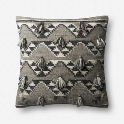"""PILLOWS - GREY / NATURAL - 22"""" X 22"""" Cover w/Down - Loma Threads"""