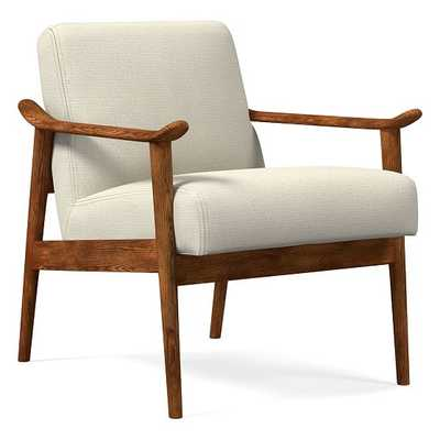 Midcentury Show Wood Chair, Poly, Performance Basketweave, Natural, Pecan - West Elm