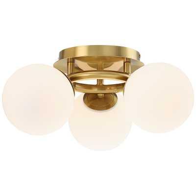 "Possini Euro Jevan 18""W Brass Globe 3-Light Ceiling Light - Style # 70T82 - Lamps Plus"