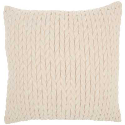 Mina Victory Life Styles Ivory 18 in. x18 in. Square Quilted Chevron Polyester Suede Throw Pillow - Home Depot