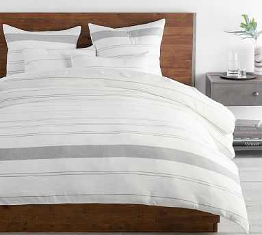 Serene Stripe Hemp Cotton Blend Duvet Cover, King/Cal King, Undyed Natural/Misty Grey - Pottery Barn