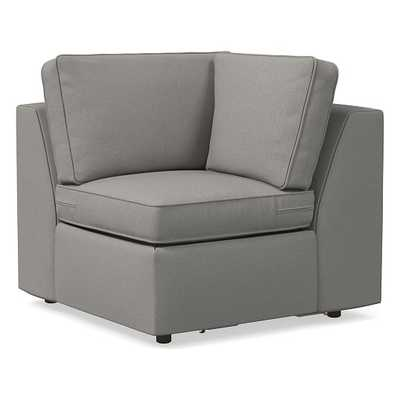 Harris Petite Corner, Poly, Performance Washed Canvas, Feather Grey, Concealed Supports - West Elm