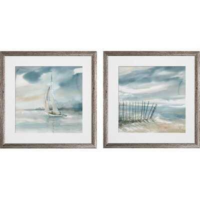 'Subtle Mist' 2 Piece Framed Print Set - Birch Lane